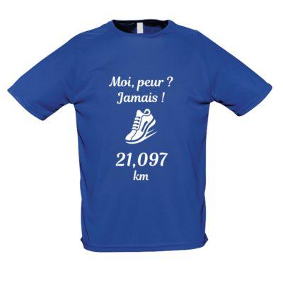 Tee-shirt bleu manches courtes Moi, peur Jamais_SEMI
