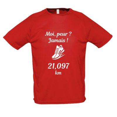 Tee-shirt rouge manches courtes Moi, peur Jamais_SEMI